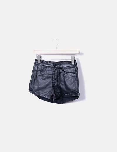 Short noir en similicuir H&M