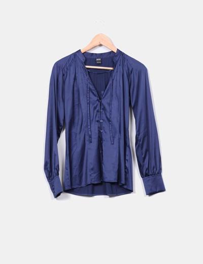 Chemise bleue soyeuse Esprit