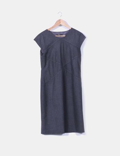 Vestido midi de paño gris marengo Cortefiel