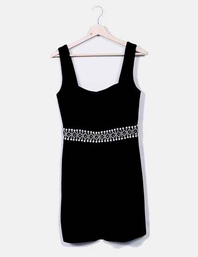 Vestido terciopelo negro perlas