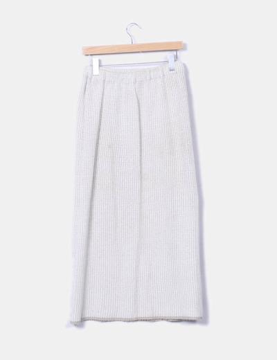 Falda larga de punto beige