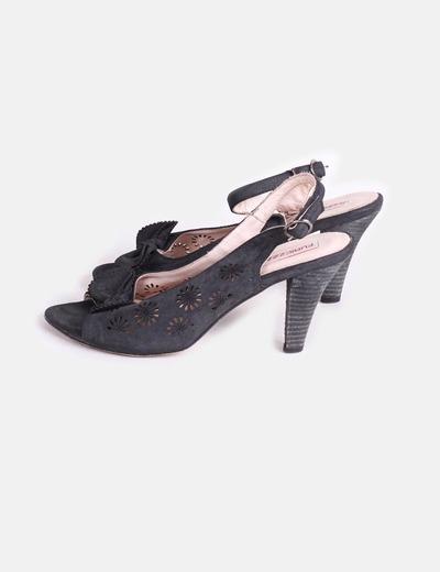 Sandales noires avec motif cravate Furiezza