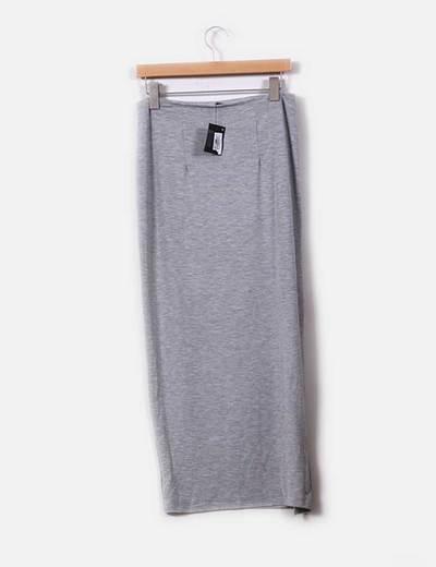 Maxi falda gris con abertura