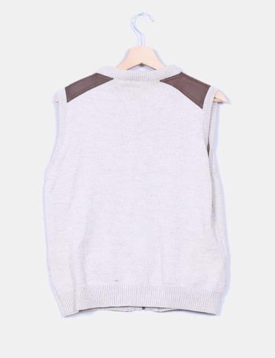 Chaleco tricot beige combinado con polipiel