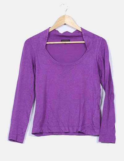 Jersey tricot morado escote redondo Adolfo Dominguez