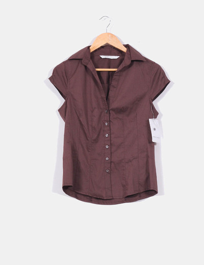 Camisa marron chocolate de manga corta