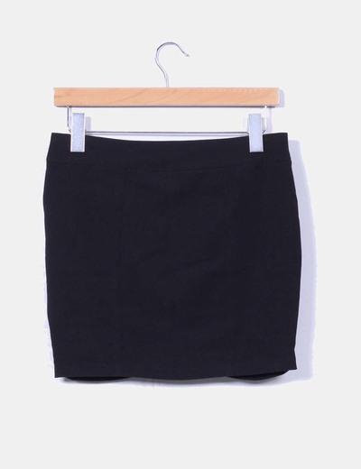 Mini falda negra cremallera delantera