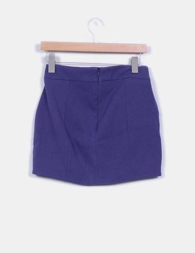 Mini falda azul detalle cremalleras
