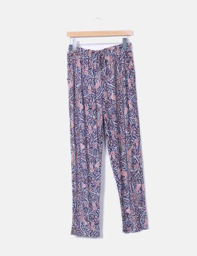 Pantalón baggy estampado floral