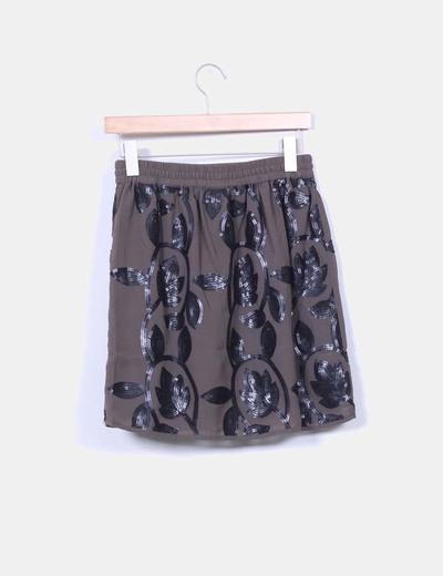 Mini falda gris con paillettes