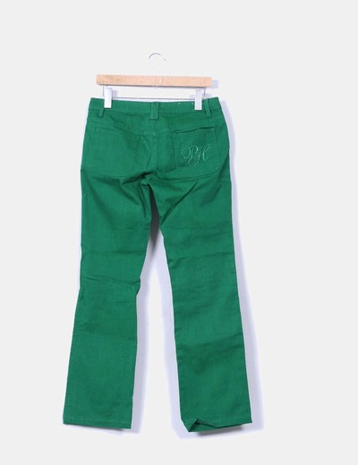 Pantalon denim recto verde