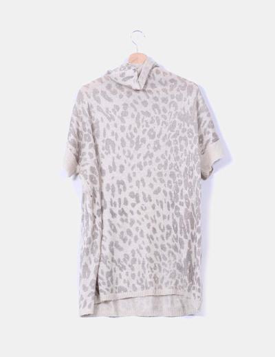 Vestido oversize beige animal print