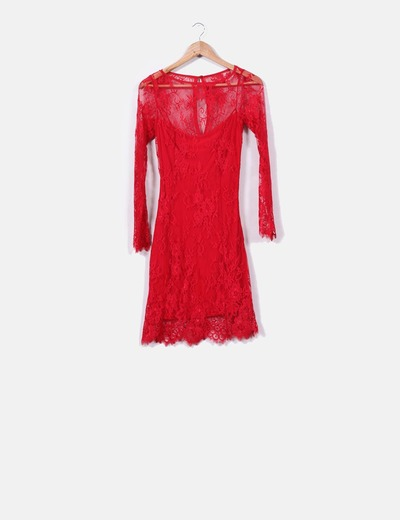 65be0ca10508 Vestido rojo de encaje con manga