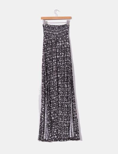Maxi falda blanca y negra con aberturas laterales