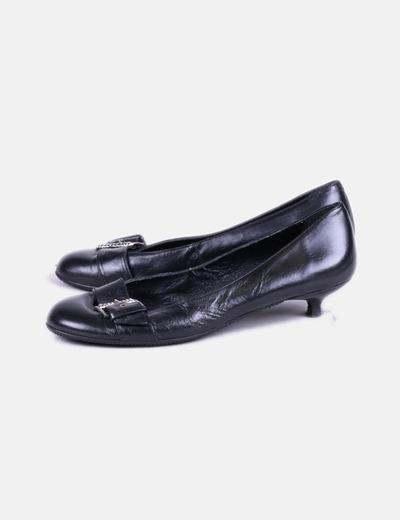 Bailarina negra con tacón detalle hebilla NoName