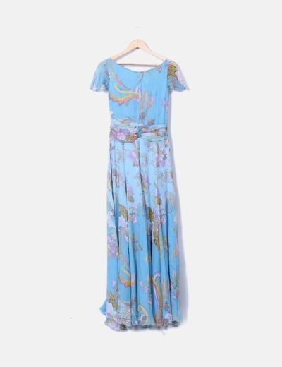Vestido largo de gasa estampado floral
