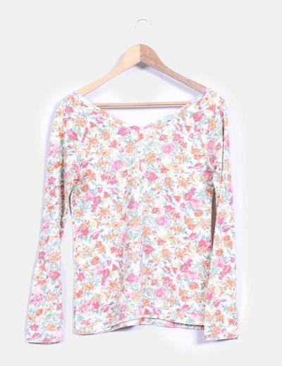 Top blanco con estampado floral multicolor