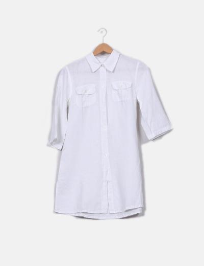 Camisa de lino blanco manga francesa NoName