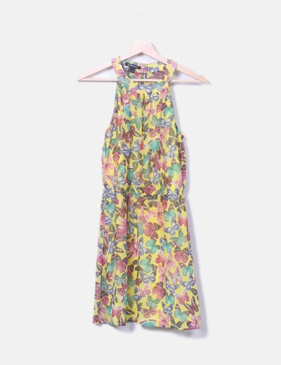 Vestido amarillo print mariposa Suiteblanco