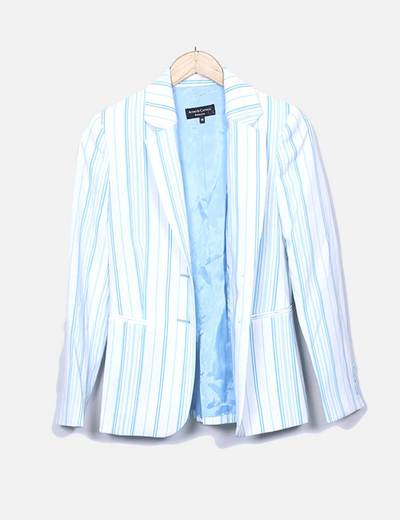 Conjunto de blazer y pantalón blancos con rayas azules Acoso & Castigo