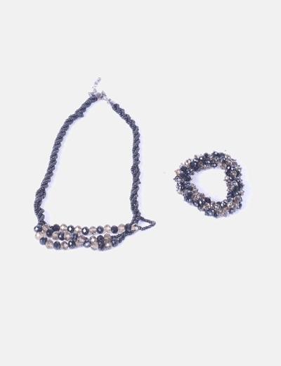 Conjunto de collar y pulsera de pedrería negra Cortefiel