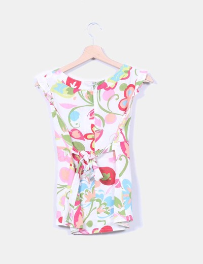 Camisa blanca con estampado multicolor