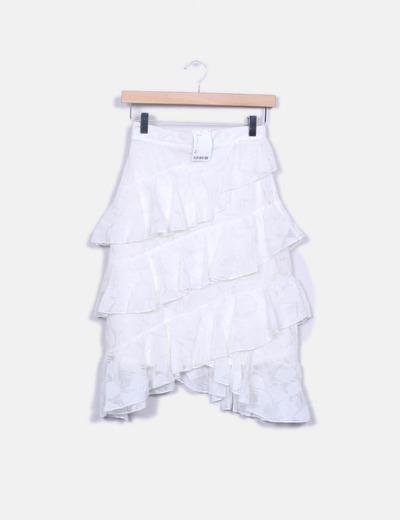 Falda blanca de volantes bordada Suiteblanco