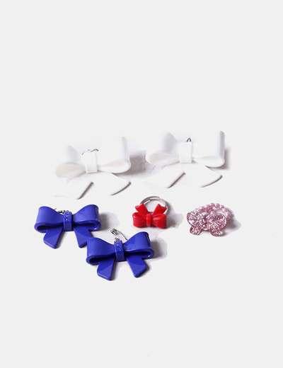 Conjunto de pendientes y anillos lazo
