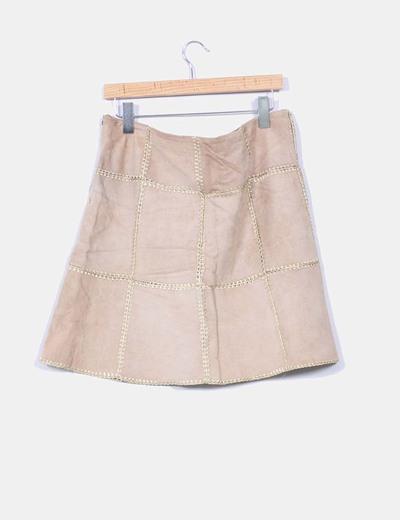 Mini falda serraje camel