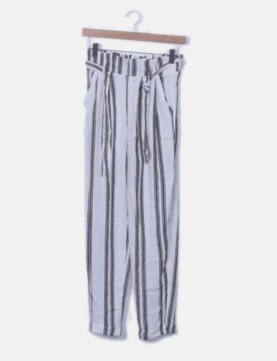 Pantalón baggy blanco rayas negras