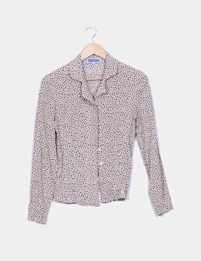 Camisa beige texturizada estampado hojos Don Algodón