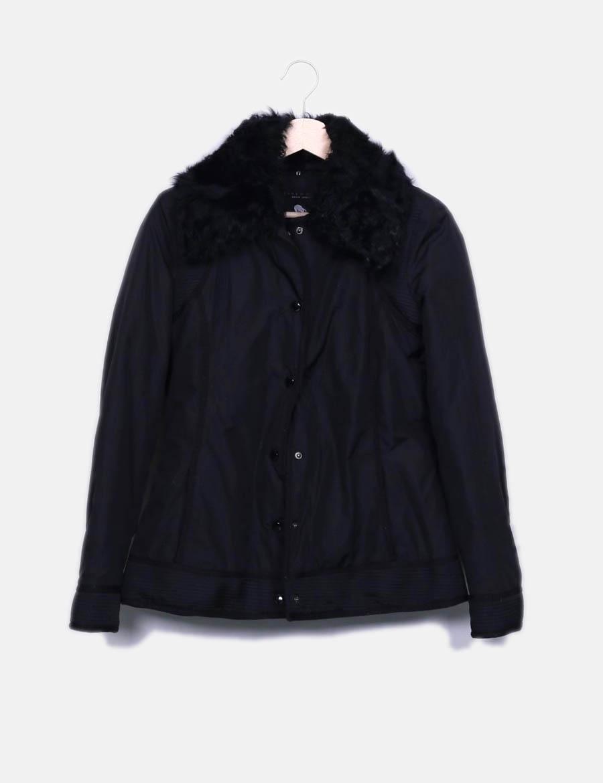 Mujer El Acolchada De 1xqxwgcq Abrigos Cuello Con Zara Negra En Pelo qFXZ1wpX