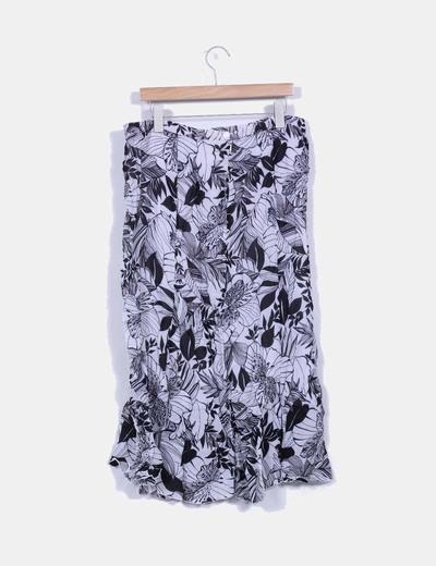 Maxi falda bicolor estampada