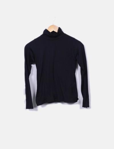 T-shirt noir à col roulé NoName