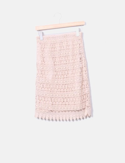 Falda midi crochet rosa palo Zara