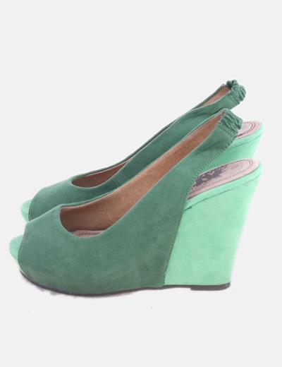 Sandalia de cuña verde bicolor