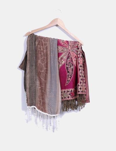 Conjunto foulard marrón multicolor y burdeos multicolor NoName