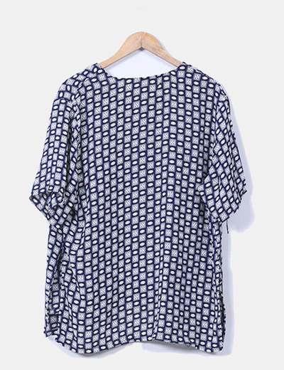Blusa estampada con efecto chaqueta azul marino