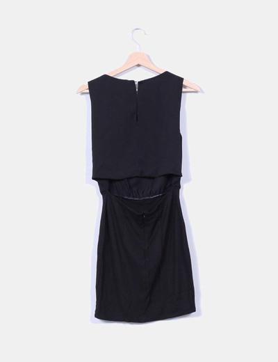 Vestido negro sin mangas bordado