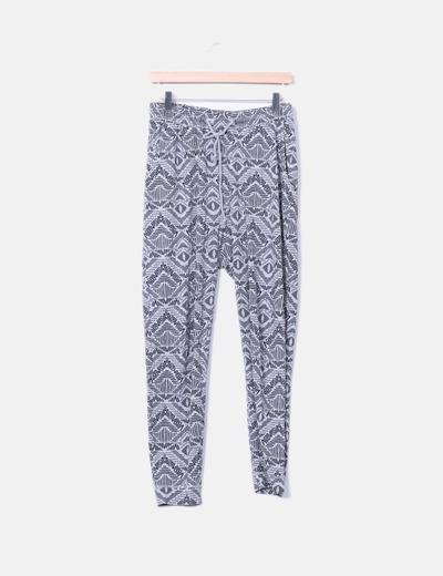 Pantalon fluido girs y negro H&M