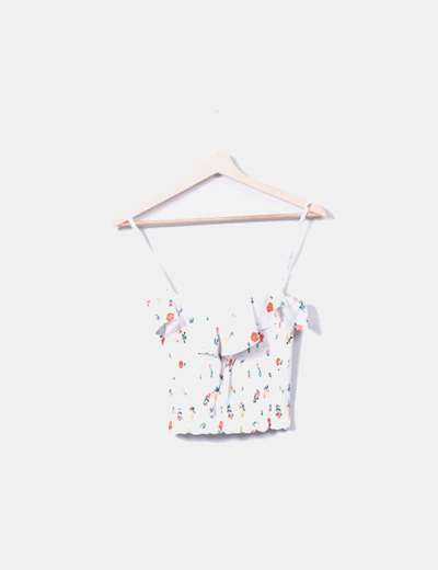 Top corto estampado floral