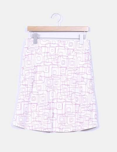 Falda blanca con estampado rosa Pimkie