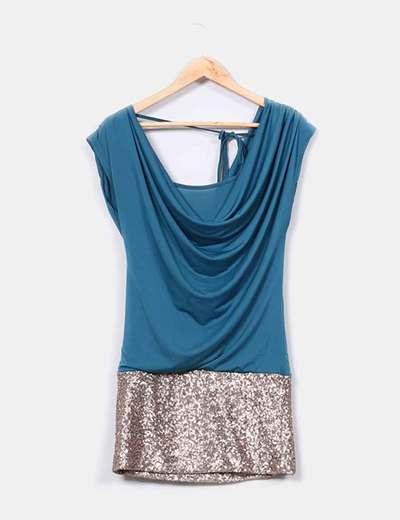Vestido azul verdoso con parte inferior dorada NoName