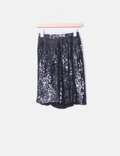 Falda midi paillettes negros Caché
