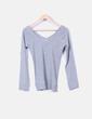 Jersey tricot gris escot V Bershka