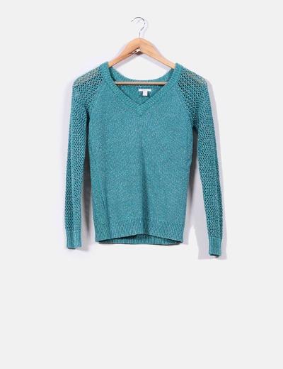 Suéter punto grueso verde con brillos  Esprit