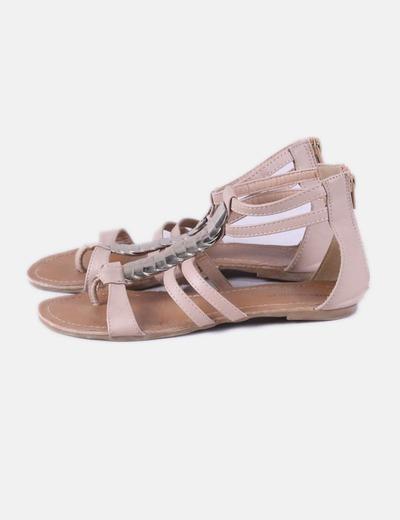 Sandales plates dorées Suiteblanco