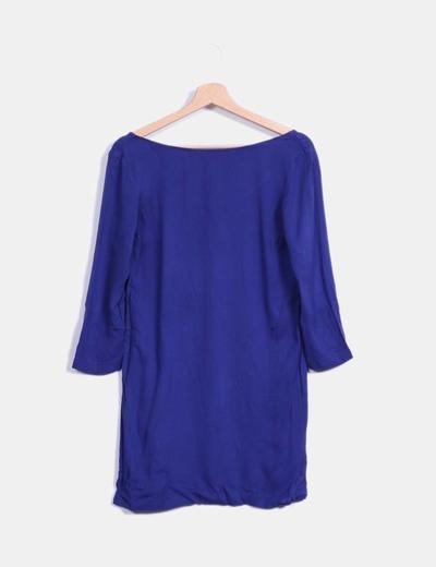 Vestido azul oscuro fluido de manga francesa Mango
