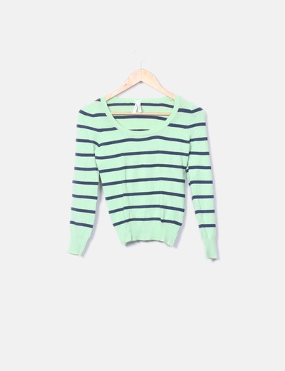 Jersey verde con rayas azul marino