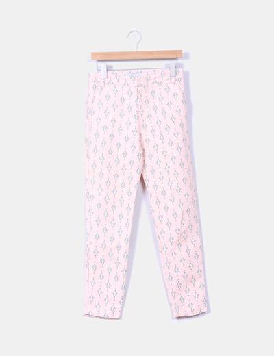 Pantalón rosa estampado Zara
